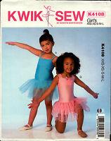 Kwik Sew Sewing Pattern K4108 4108 Girls Leotard Tutu Dress Dance Gymnastics