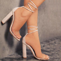 Womens Lace Up Summer Sandals Block High Heels Open Toe Solid Sexy Party Shoes