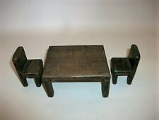 Vintage early Doll's House dark stained wood Dining Table & 2 Chairs - I9