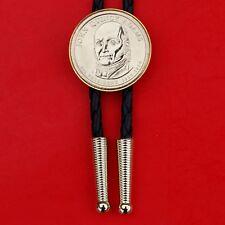 US 2008 Presidential Dollar BU Uncirculated Coin Bolo Tie -  John Quincy Adams