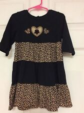 Copper Key girls dress size 4 black multi animal print hearts on bodice  63