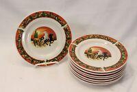 "Tienshan Stoneware Running Horses in Southwest Desert Salad Plates 8"" Lot of 8"