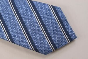 Canali NWT Neck Tie In Light Blue With White & Blue Stripes 100% Silk