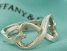 Tiffany & Co. Silver Paloma Picasso Double Loving Heart Ring Size. 6