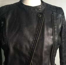 Topshop Black Faux Leather Biker Jacket Size 8