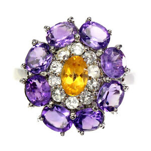 Unheated Oval Citrine Amethyst White Topaz 925 Sterling Silver Ring Size 8