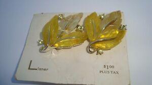 Vintage Signed LISNER MOLDED YELLOW LUCITE RHINESTONE LEAF EARRINGS