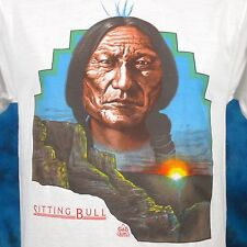 NOS vtg 80s SITTING BULL NATIVE AMERICAN SUNSET T-Shirt SMALL cowboy indian thin
