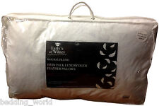 DUCK FEATHER TWIN PACK PILLOWS LUXURIOUS INNER FILLER PAD COTTON COVER WHITE