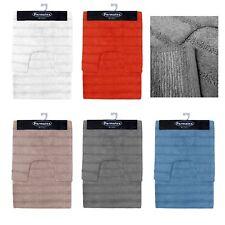 2 Pce Stripe 100% Cotton Bathroom Floor Contour & Bath Mat Set
