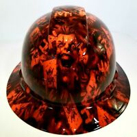 FULL BRIM Hard Hat custom hydro dipped, NEW  OUTRAGEOUS ORANGE JOKER HA HA