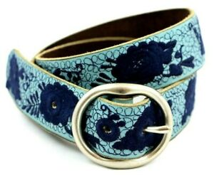 LUCKY BRAND Women's Blue Leather Belt M 34 Floral Embroidered Boho