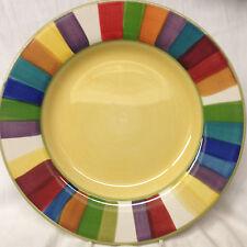 "PHILIPPE RICHARD RAINBOW STRIPES DINNER PLATE 10 7/8"" YELLOW CENTER HAND PAINTED"