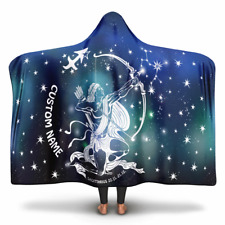Personalized Sagittarius Horoscope Zodiac Star Sign Hooded Blanket