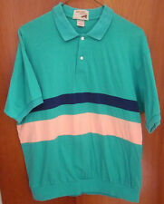 FOX peach stripe polo shirt XL preppy 1980s golf shamrock-green OG