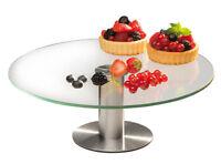 Tortenplatte Kuchenplatte Glas mit stabilem Edelstahl Fuß Ø 30 cm Gastlando
