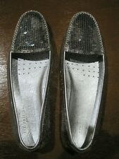 CAR SHOE by PRADA SEQUIN LOAFERS-SILVER,SIZE 9 / EU 39