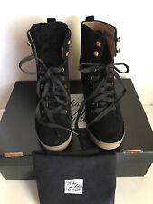 New UGG Australia Kiernan Black Suede Sheepskin Wedge Ankle Boots Size US 7 $195