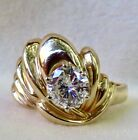 VINTAGE 1.10 CT. ROUND DIAMOND SOLITAIRE 14K GOLD WIDE BAND ENGAGEMENT RING