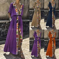Women V-Neck Summer Boho Floral Paisley Maxi Print Dress Ladies Holiday Beach