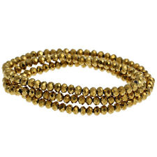 1 STRAND DARK GOLD CRYSTAL FACETED RONDELLE BEADS ~4mm~APPROX 149 BEADS  (43D)