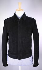 * BURBERRY PRORSUM * 2015 Black Suede Leather Bomber Jacket Coat 38