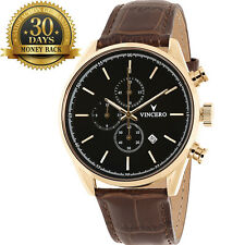 Original Men's Wrist Watch Gold Chronograph Leather Strap 12 Hour Dial Quartz