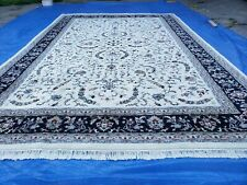 12' X 18' Hand-Knotted Wool Rug Handmade Oriental Carpet One Of A Kind Ivory
