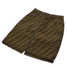 Fendi Vintage Zucca Pattern Skirt Brown Black Italy Authentic Ak36838d