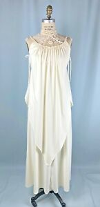 Vintage Dress Size 6 Maxi White Cream BOHO Hippie Crochet Long Bride Disco dance