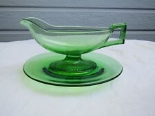 Heisey Yeoman Moongleam Gravy Boat/French Dressing Boat W/Underplate (No Optic)
