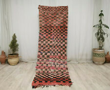 Vintage Moroccan Tribal Handmade Rug 2'7x8'3 Checkered Berber Red Black Wool Rug