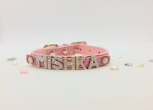Personalised Pink Name  Glitter Collar  Dog  Cat Puppy Kitten   Xs Small New Uk