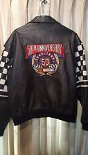NASCAR 50TH ANNIVERSARY JEFF HAMILTON LEATHER JACKET SIZE L..reads xl-fits large