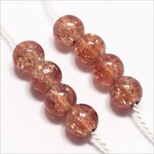 Pack Von 50 Perlen Krakelee aus Glas 6mm Brown