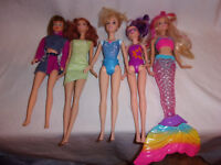 """12"""" Red Haired Mattel Light Up Mermaid 5 Dolls Blond Articulated Toy"""