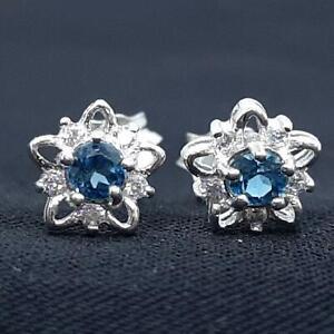 Genuine .30ctw London Blue Topaz & Diamond Cut White Sapphire 925 Stud Earrings