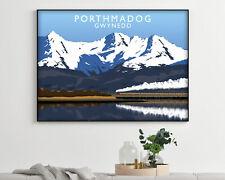 Porthmadog Gwynedd Landscape Vintage Travel Poster, Modern Wall Art Print