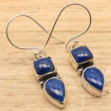 Unseen LAPIS LAZULI 2 Stone Set Earrings Pair, 925 Silver Plated WOMEN'S JEWELRY