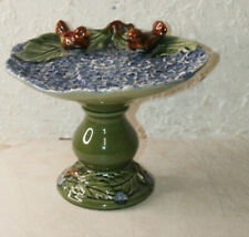 Vintage Ceramic Bird Bath Feeder Pedestal Garden Yard Decor Porcelain 9'' tall