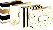 Gold Fashion File Folders Office Letter Tab Desk White Black Style Design 12 NEW