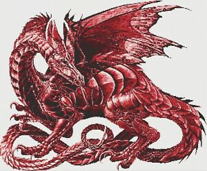 RED DRAGON # 4 - COUNTED CROSS STITCH CHART