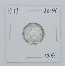1943 Canadian coin 10 cents AU 55 condition
