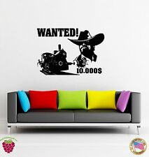 Wall Sticker Cowboy Wanted Texas Wild West Robber Outlaw Decor For Bedroom z1507