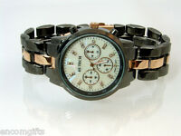Mens CHRONOGRAPH STYLE WRISTWATCH Gunmetal & Rose Gold Pearlized Rhinestone Face