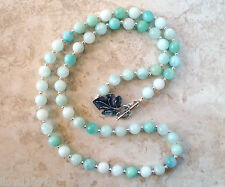 "Big Beautiful Amazonite Gemstone Handmade Beaded Single Strand 30"" Necklace"