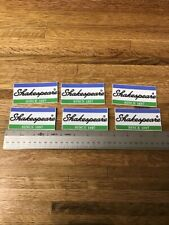 """(6) Shakespeare  SINCE 1897-DECALS - STICKERS-3 1/2"""" X 1 3/4"""" -  NEW"""