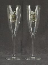 "MODERN Designer 2PC Lot Champagne Glasses Stemware PERRIER JOUET Flutes 8"" Tall"