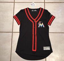 NWT MAJESTIC Cool Base Fan Fashion Miami Marlins MLB BLACK Jersey Women's Medium