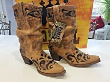 NEW CORRAL WESTERN BOOTS SZ 8.5 SAND BROWN SLOUCH W CONTRAST CUT POINTED TOE